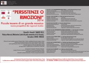 Persistenze e rimozioni 4, a Venezia il 6 e 7 marzo